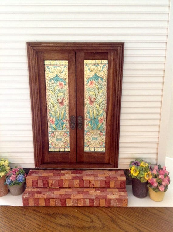 Dollhouse Miniature Floral Stained Glass French Door Decals Etsy