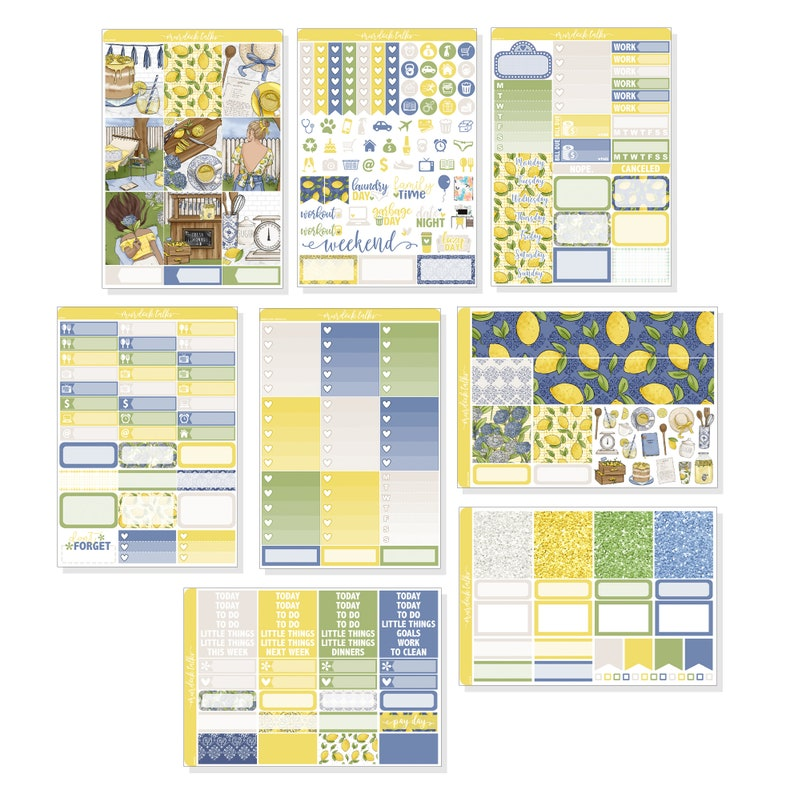Planner Stickers Erin Condren Life Planner Vertical Lemonade FULL Kit 150