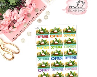 Cottage || 15 Planner Stickers || Erin Condren Life Planner, Happy Planner || SKU 072