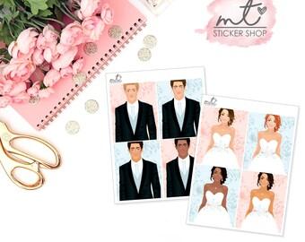 Mr & Mrs Bride/Groom Add On    4 Planner Stickers    Erin Condren Life Planner, Happy Planner