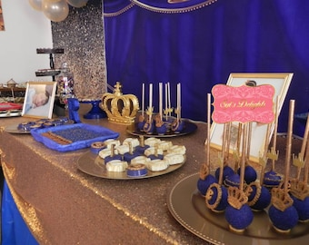 Royal Baby Shower 1st Birthday Blue And Gold Party