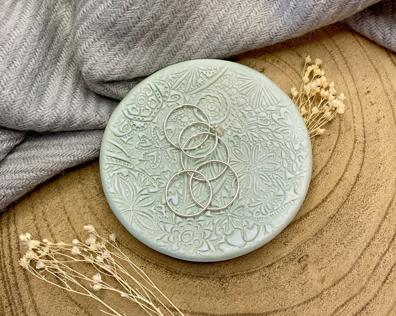 Sage Green /& White Floral Clay Ring Dish Trinket Dish