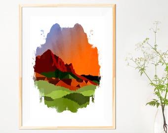 Zion Abstract Mountains Print - Watercolour Style  - Abstract Mountains - Zion National Park - Abstract - Mountain - Orange Green Wall Art