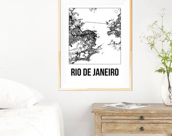 Rio De Janeiro City Map Print - Black and White Minimalist City Map - Rio De Janeiro - Rio De Janeiro Print - Many Sizes/Colours Available