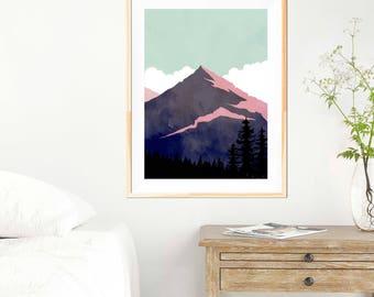 Mountains Minimalist Print - Green Sunset  - Abstract Mountains - Wall Art - Abstract Poster - Mountain Art - Wilderness - Wanderlust