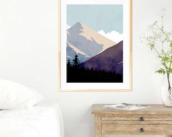 Teal Blue Mountains Minimalist Print - Minimalist Mountains - Wall Art - Abstract Poster - Mountain Art - Wilderness - Wanderlust