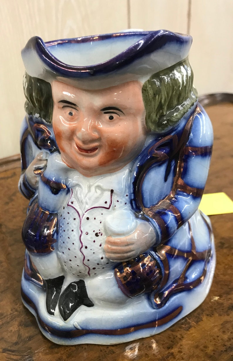 Flow Blue English TOBY Jug with Copper Luster c 1840-1900  Staffordshire