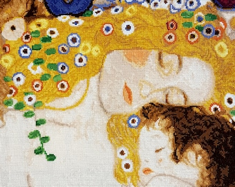 """KIT """"Mother and child"""" (Gustav Klimt) Cross stitch kit, DMC treads,famous paintings ,embroidery,floss, Nurcery, Counted Cross Stitch Kit."""