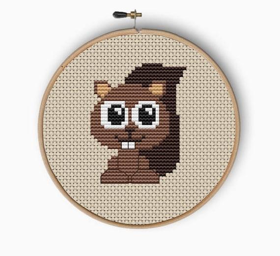 Baby squirrel mini Cross Stitch Pattern PDF animal cute pattern, easy  woodland, beginner cross stitch,small PDF pattern,nursery cross stitch