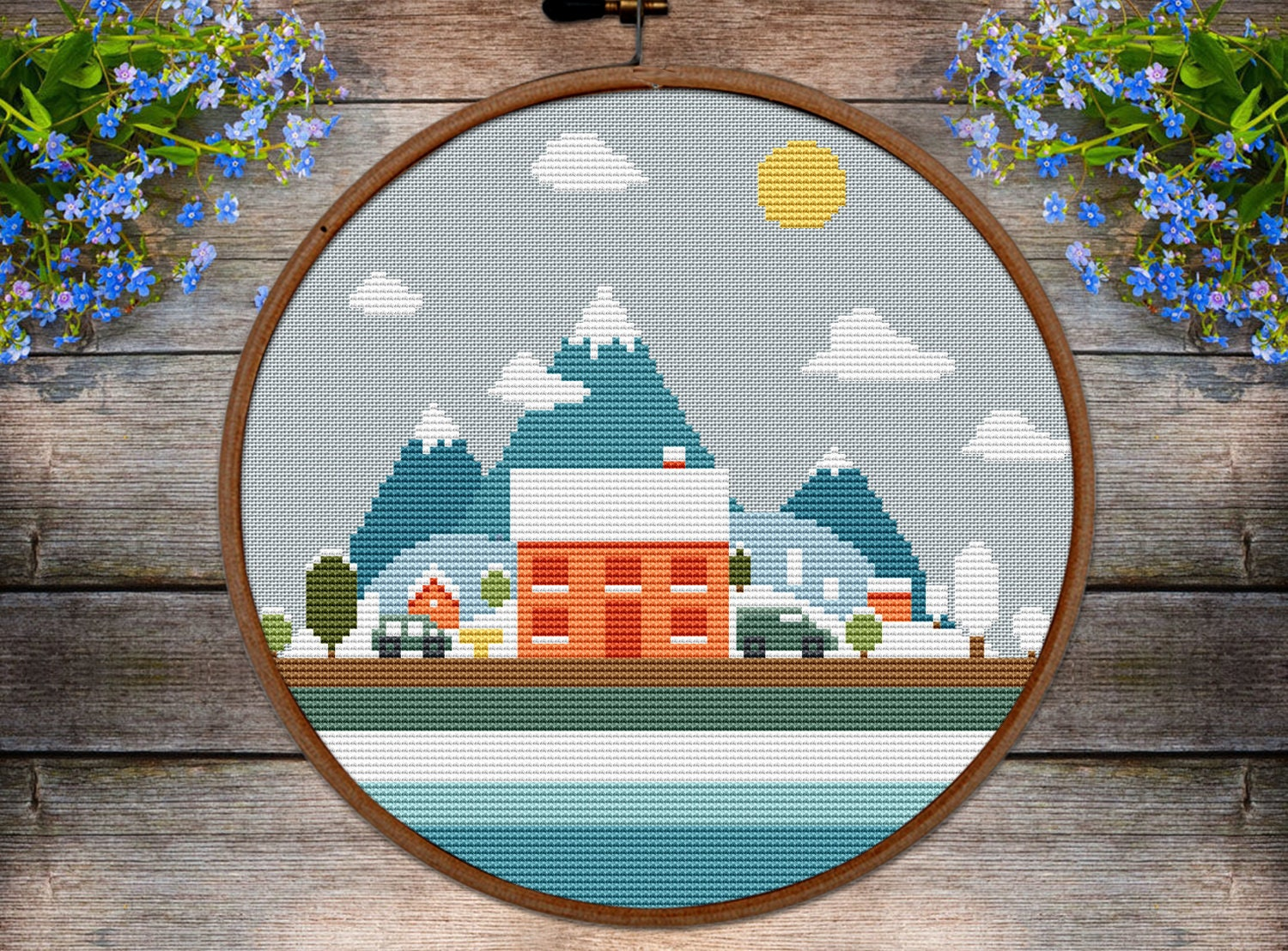 0bdf4681d7b31 Home Cross stitch pattern Farmhouse winter easy pattern.