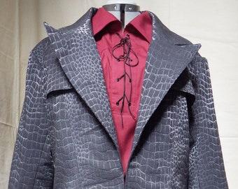 "Black Snakeskin-Pattern Men's Coat Size 48"" Chest with pockets"