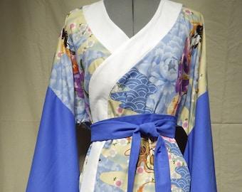 "Blue & white kimono-style top with tie Size 12 (34"" 87cm bust)"