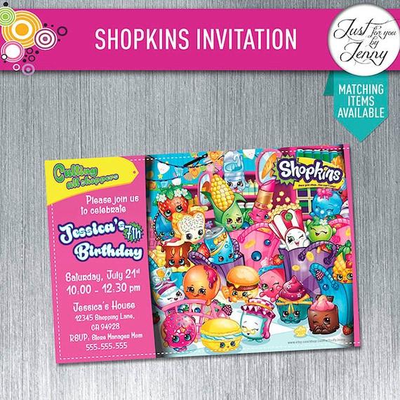 SHOPKINS Custom Birthday Invitation