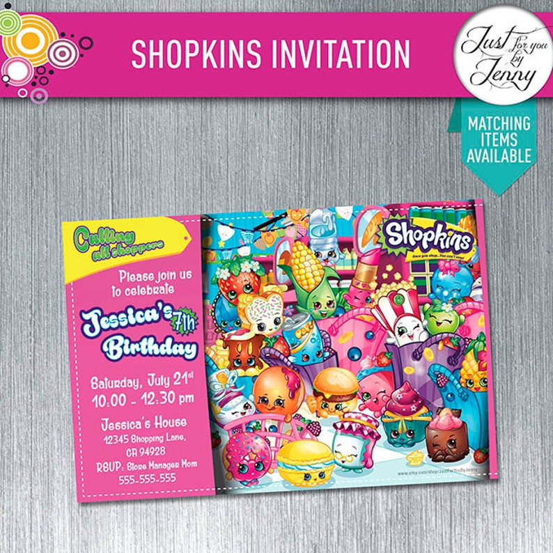 SHOPKINS Custom Birthday Invitation Made To Order