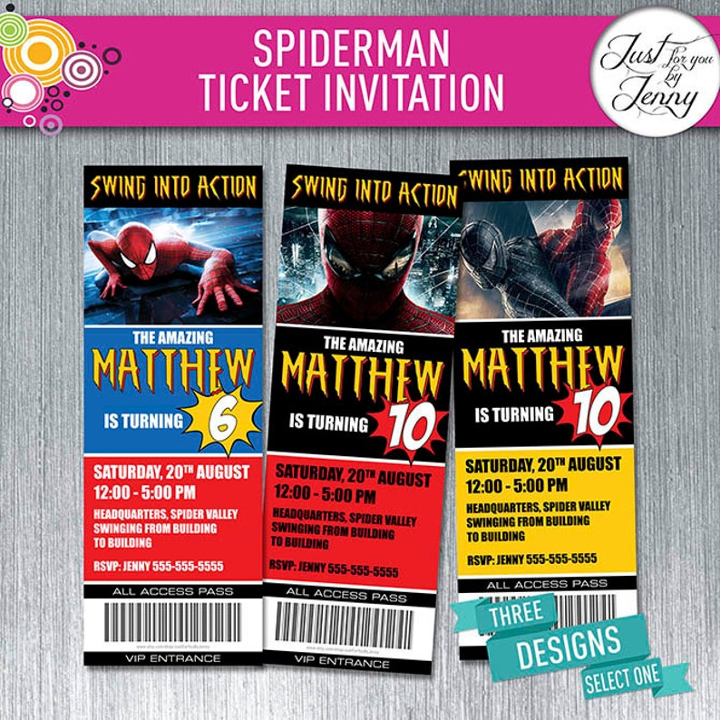 Spiderman Theme TICKET Style Birthday Invitation Made To