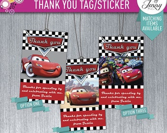 DISNEY CARS thank you tag/sticker - Made to order