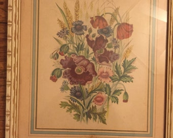 Antique Floral Print w/ Beautiful Mat Detail, Bamboo Frame