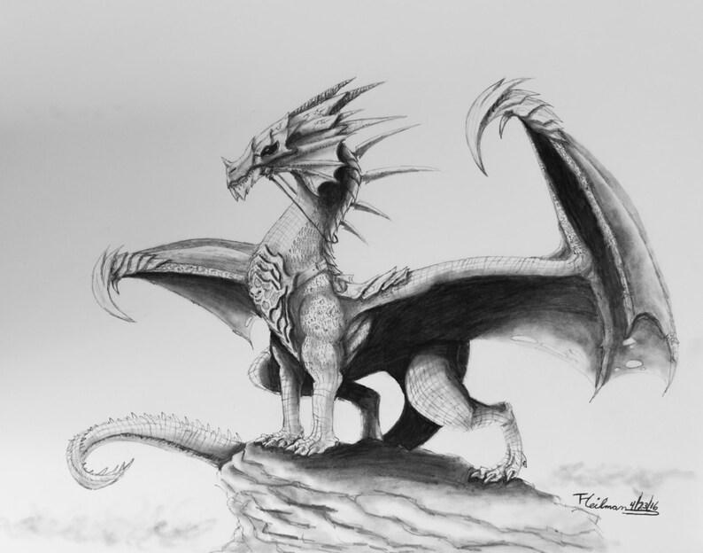 Original dragon réaliste dessin au crayon graphite sur | Etsy