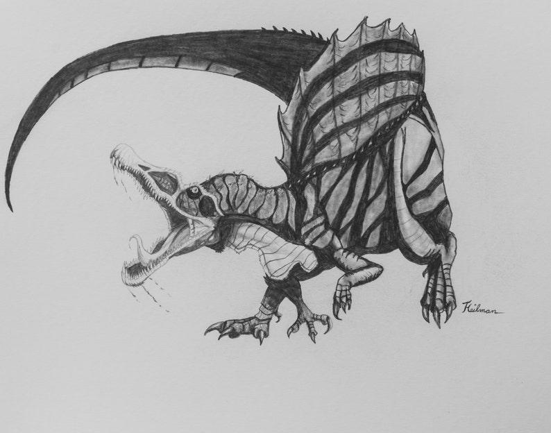 Spinosaurus Dinosaurio Realista Dibujo Original A Lápiz De Etsy