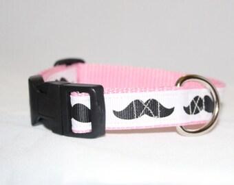 Pink Mustache Adjustable Dog Collar