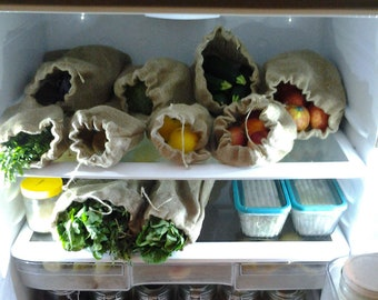 Organic Hemp Produce Bag Set, Reusable Produce Veggie/Fruit Bag, Grocery Bag, EcoFriendly Produce Bag, Natural Fabric Market Bag, Zero Waste