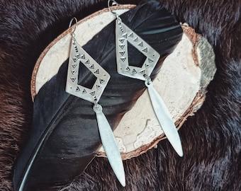 Geometric earrings, handmade aluminum earrings, ethnic style jewelry