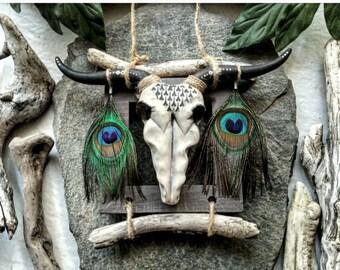 Bull skull, peacock feathers, driftwood wall decor, ethnic decoration, bohemian, animal totem