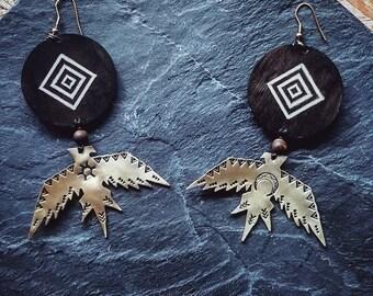 Thunderbird earrings, brass bird earrings, native american bird, wooden earrings