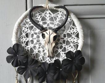 Dream catcher black flowers, dreamcatcher, Buffalo head, white lace, Bohemian decor, wall decor, spirals, romantic