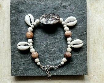 Shells, pearls and beads of petrified wood, Bohemian jewelry, ethnic bracelet