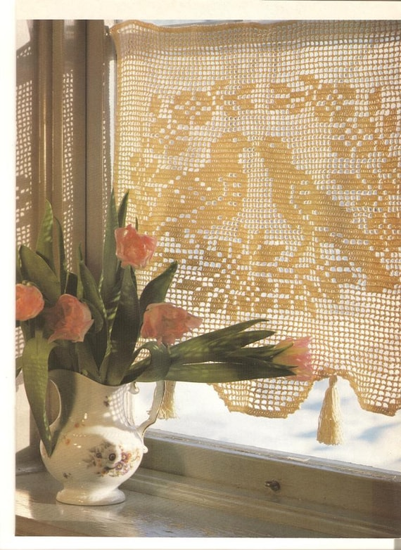 Crochet Curtain Pattern Vintage Crochet Pattern Filet Etsy