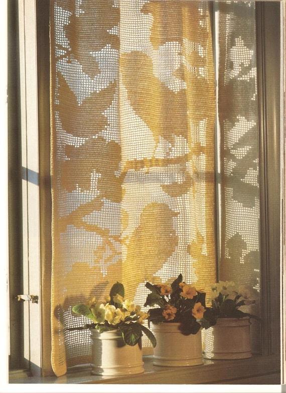 Crochet Curtain Pattern Vintage Crochet Pattern Filet Etsy