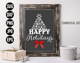 Happy Holidays Snowflake Christmas SVG, EPS. Holiday Cut File. Commercial use, digital files for cutting machines