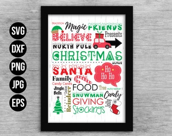 Believe in Magic Christmas Word Art Cut File. Christmas Cut File EPS for print. Commercial use. Digital files for cutting machines