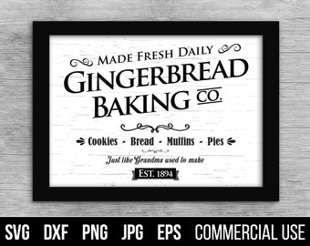 Gingerbread Baking Co Sign Cut File SVG and EPS for print. Holiday Christmas Cut File. Commercial use, digital files for cutting machines