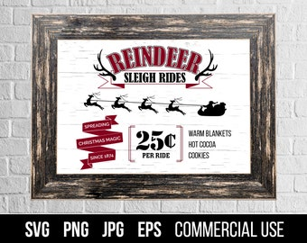 Reindeer Sleigh Rides Sign SVG Cut File. Reindeer Sleigh Rides Sign Cut File. Commercial use, digital files for cutting machines