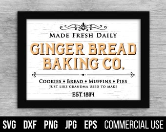 Gingerbread Baking Co Sign SVG. Gingerbread Baking Co Sign SVG Cut File. Commercial use, digital files for cutting machines