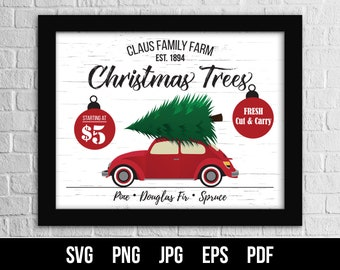 Christmas Tree Farm SVG Cut File. Christmas Tree Farm with VW Bug. Christmas Sign SVG. Commercial use. Files for cutting machines