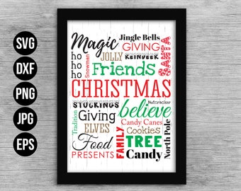 Christmas Word Art Cut File SVG and EPS for print. Holiday Christmas Cut File. Commercial use. Digital files for cutting machines