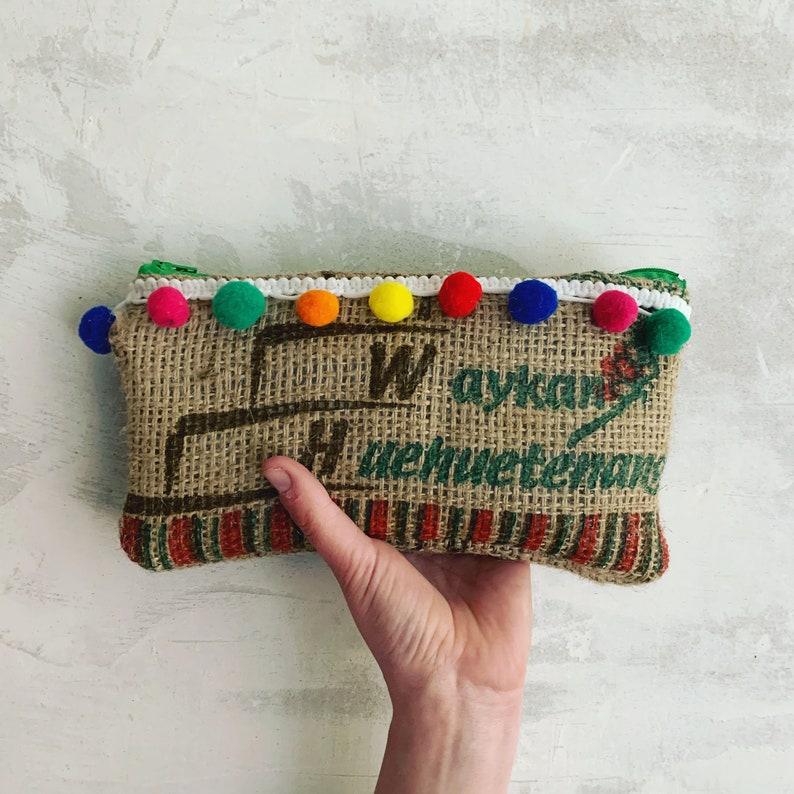 /'Bean to Huehiuetenangl/' purse Coffee hessian pursehessian purseupcycled recycled coffee hessian sackhessian pencil casebeach purse