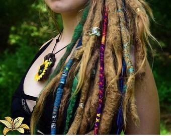 Set of 3 BoHo/hippie hair wraps handmade, Custom wraps, Dreadlocks, Hippie, Bohemian, Hair Accessories, Hair Wrap Sets, Festival Hair