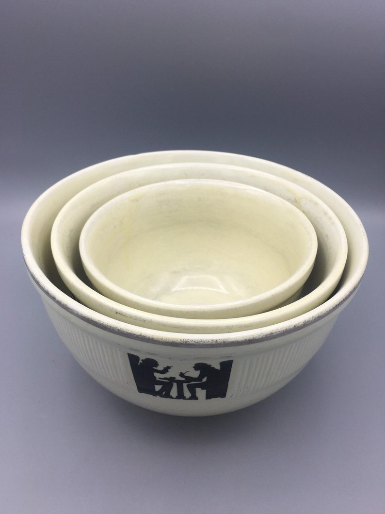 Vintage Hall Nesting Bowls Hall Pottery Silhouette Mixing Bowls
