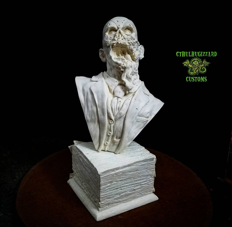 Dr  Tongue bust with Zombie head in a box base resin model kit unpainted