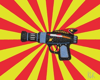 Art print of a painting of a Ray gun.