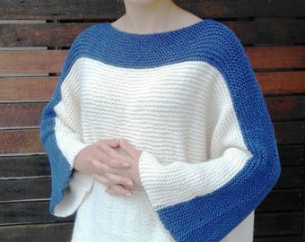 XL Cream Blue Hand Knitted Sweater