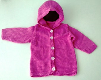 Baby Newborn 3mths Hot Pink Hand Knitted Hoodie Made in Australia