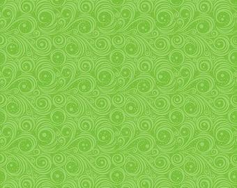 Christmas Cheer -Green Swirls Fabric by Patrick Lose