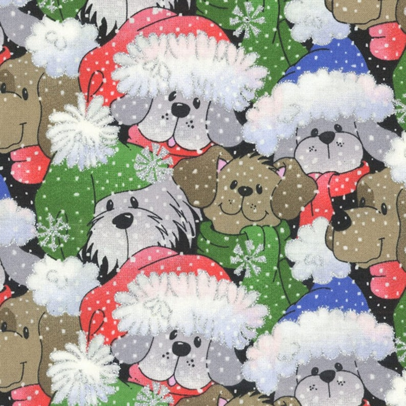 Puppy Christmas Fabric by Crafty Cottons