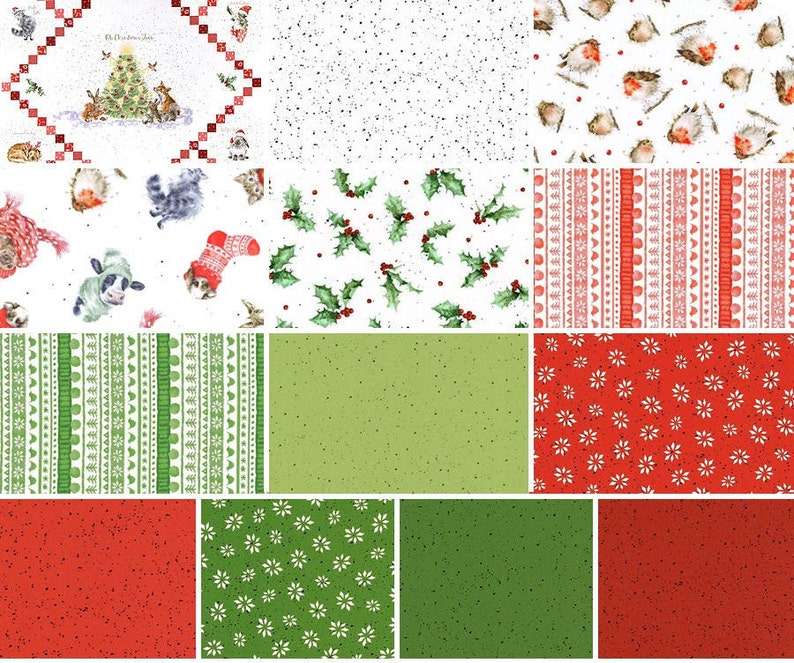 Maywood Studio Christmas Quilt Puppy Fabric Quilt Panel by Hannah Dale FQ-MASWAW FQ Bundle Warm Wishes Christmas Fabric