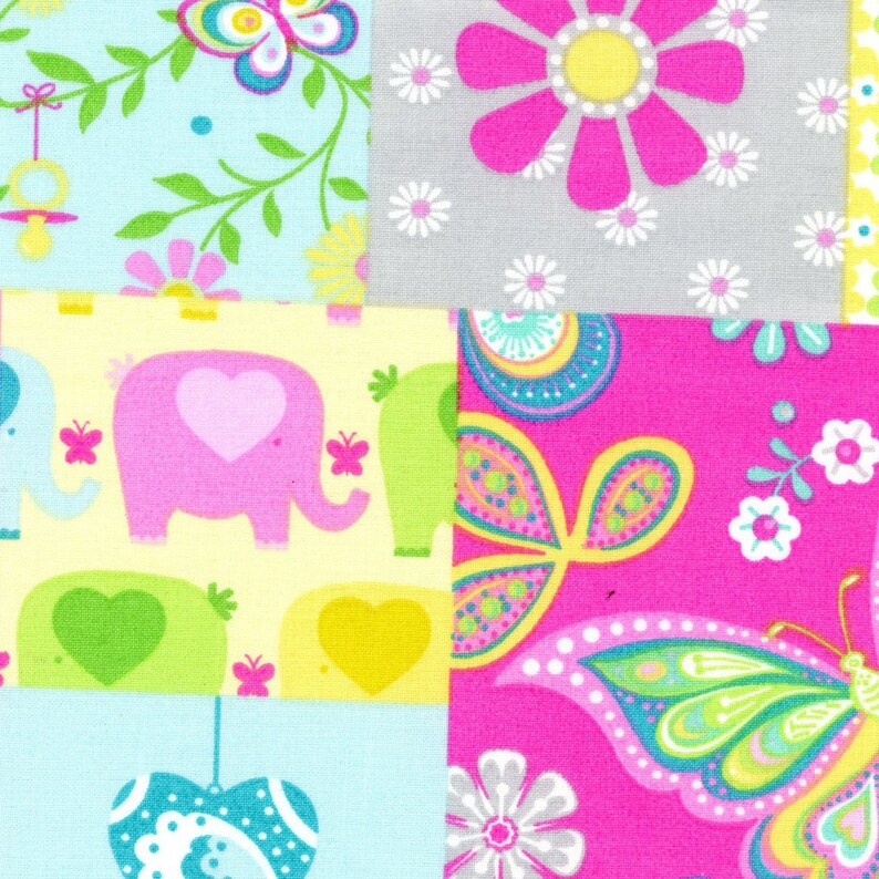 Baby Quilt Fabric Quilt Fabric Butterfly Fabric Patchwork Baby Fabric by Crafty Cottons ~ 1.5 Yards Baby Elephants